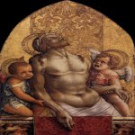 Carlo Crivelli (c. 1435  c. 1495)  Piet&#224;  Panel, c. 1470  71 x 47 cm  Museum of Art, Philadelphia, United States